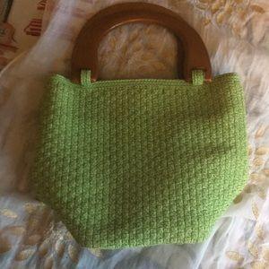 Talbots Square bottom wooden handle handbag